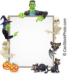 Halloween sign or banner with orange Halloween pumpkins and black witch's cats, witch's broom stick and cartoon mummy, Frankenstein, bat, skeleton and witch characters