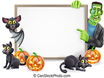 Halloween Sign with Bat and Frankenstein - Halloween sign or...