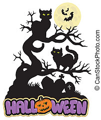 Halloween sign with cats - vector illustration.