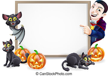 Halloween Sign with Dracula and Vampire Bat