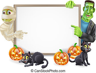 Halloween Sign with Mummy and Frankenstein - Halloween sign...