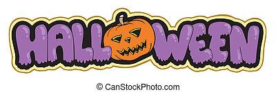 Halloween sign with pumpkin