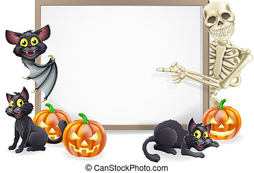 Halloween Sign with Skeleton and Bat - Halloween sign or...