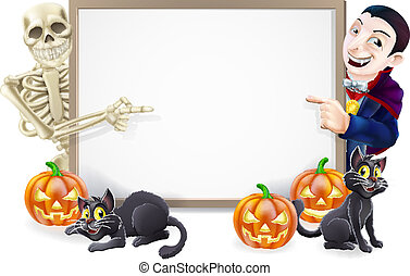 Halloween sign or banner with orange Halloween pumpkins and black witch's cats, witch's broom stick and cartoon skeleton and vampire Count Dracula characters