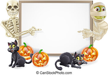 Halloween Sign with Skeleton and Mummy - Halloween sign or...