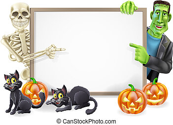Halloween Sign with Skeleton and Frankenstein - Halloween...