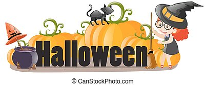 Halloween sign with witch and cat