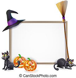 Halloween sign with witches hat, Halloween pumpkin, witches black cat and broom stick and blank sign for your text