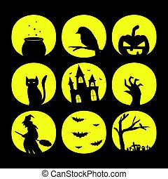 halloween, silhouette, collection, icône