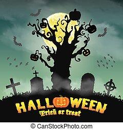 halloween silhouette dead tree in night graveyard