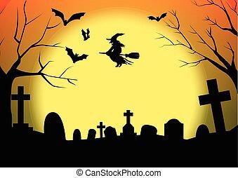 halloween silhouette graveyard