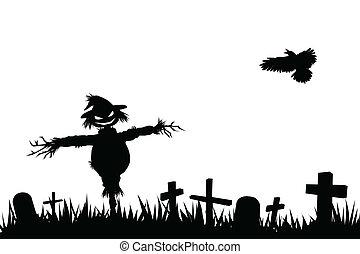 halloween silhouette - halloween theme silhouette, scarecrow...