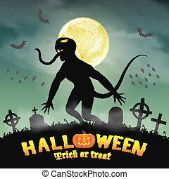 halloween silhouette monster in a night graveyard