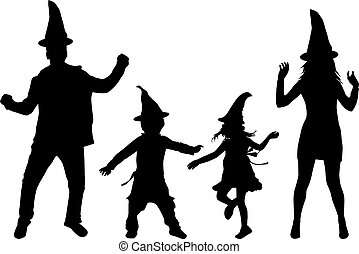 Halloween - silhouette of a family