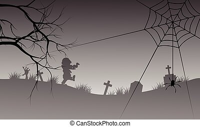Halloween silhouette of spider and scary zombie