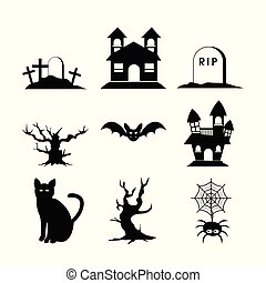 Halloween Silhouette Set Icon Vector Illustration