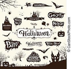 halloween, silhouette, tag, sammlung
