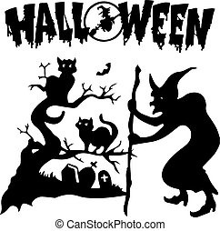 Halloween. Silhouette witch in a cemetery near a tree where black cats sit, on white background,