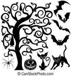 halloween, silhouettes, ensemble, noir
