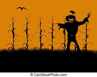 halloween, silueta, ilustración