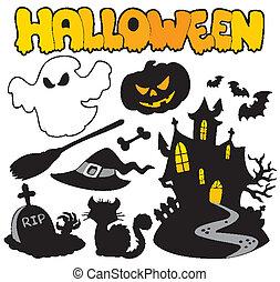 halloween, siluetas, 2, conjunto