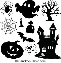 halloween, siluetas, colección, 1