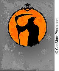 halloween, sinistre, silhouette, reaper