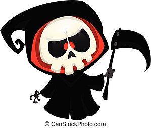 halloween, sinistre, vecteur, illustration, dessin animé, mignon, reaper.