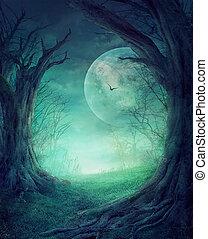 halloween, sinistro, foresta