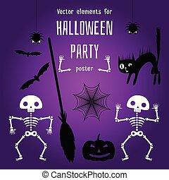 halloween, skapelse, elementara, poster., design