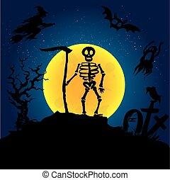Halloween  skeleton on a graveyard