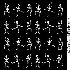 Halloween Skeleton Pattern. Black Background - Halloween...