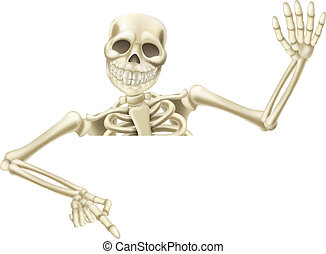 Halloween skeleton pointing - An illustration of a cartoon...