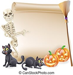 Halloween scroll or banner sign with orange carved Halloween pumpkins and black witch's cats, witch's broom stick and cartoon skeleton character