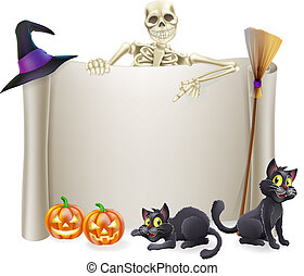 Halloween Skeleton Scroll - A Halloween scroll sign with a...
