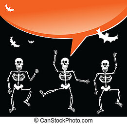 Halloween skeletons with spiderweb and bubble background -...