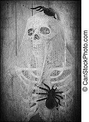 halloween, skelett, gruselig