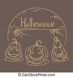 Halloween sketch hand drawn on black background