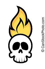 Halloween Skull Face on Fire Vector