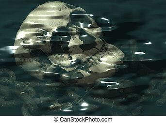 Halloween Skull - halloween skull and chain under water.