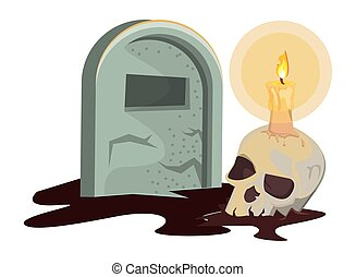 halloween skull head with candle and graveyard