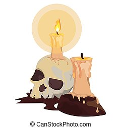 halloween skull head with candle