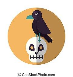 halloween skull head with crow