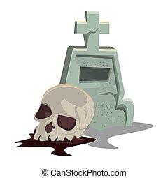 halloween skull head with graveyard