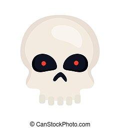 halloween, skull icon in white background