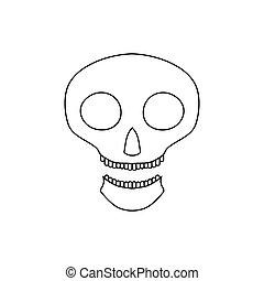 Halloween skull icon, outline style