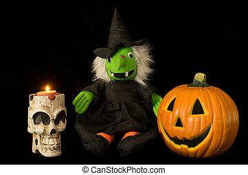 Halloween Skull, Witch & Jack O'lantern