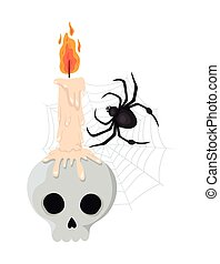 Halloween skull with candle and spider vector design