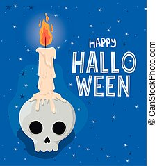 Halloween skull with candle vector design