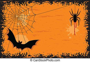 halloween slagträ, natt, spindel